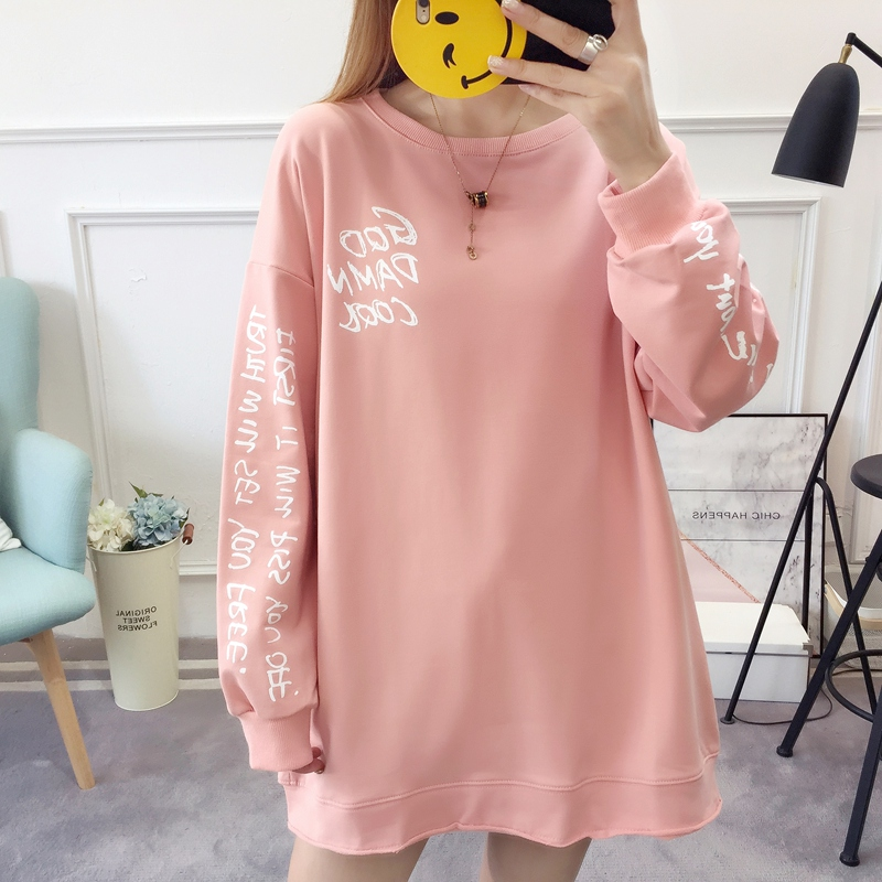 2019 autumn new Korean version of the XL T-shirt women's thin section long-sleeved loose hole wild T-shirt shirt women 70
