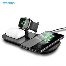 10W Fast Charge 3 in 1 Qi Wireless Charger For Iphone 11 8 XS XR X Apple Watch 5 4 3 Airpods Pro Wireless Charging Dock Station