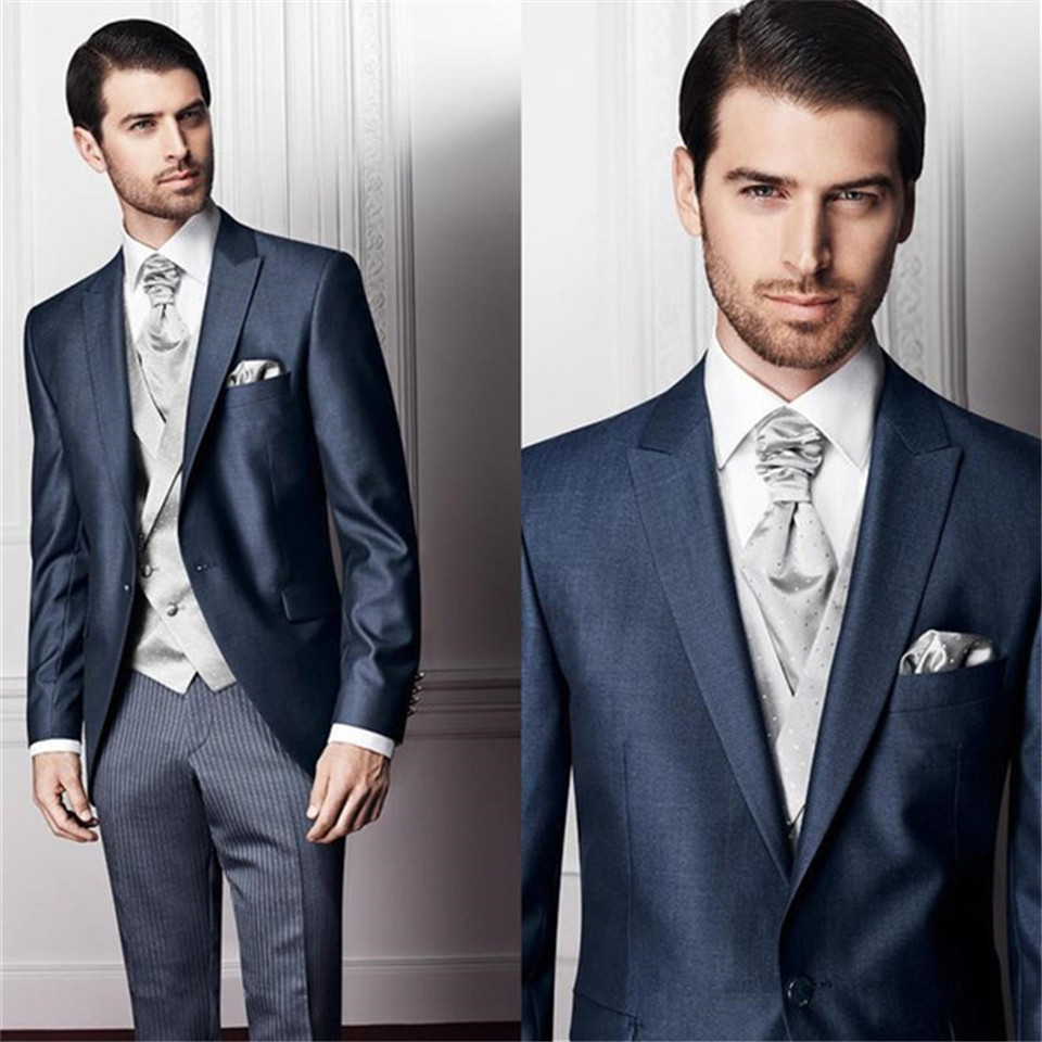 New Classic Men's Suit Smolking Noivo Terno Slim Fit Easculino Evening Suits For Men One Button Peaked Lapel Formal Masculino