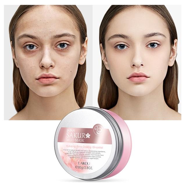 LAIKOU Sakura Mud Mask Deep Clean Whitening Remove Blackhead Hydrating Women Anti-Acne Face Skin Care Face Clay Mask Korean 1