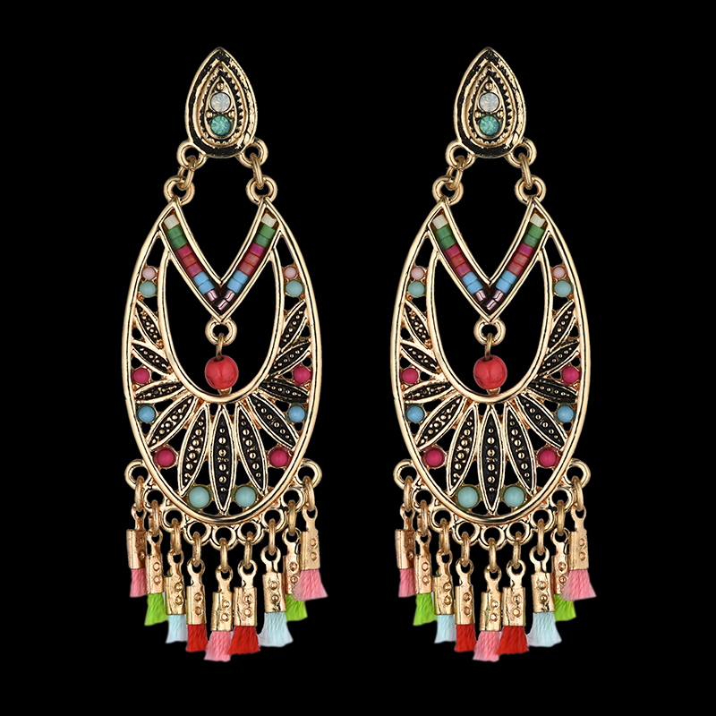 Ethnic Retro Big Turkish Colorful Indian Jhumka Earrings Women's Vintage Turkey Bead Tassel Earrings Bijoux(China)