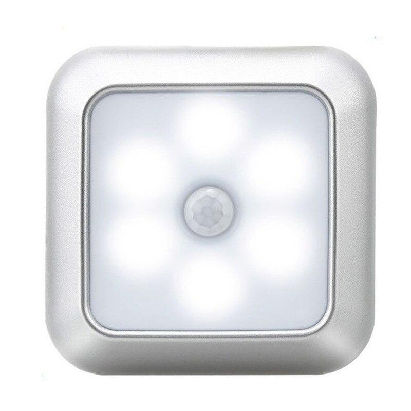 2020 Батарея питание 6 светодиодный квадратный движения Сенсор Ночной светильник с ПИР Индукционная под шкаф светильник гардероб лампы для Л...