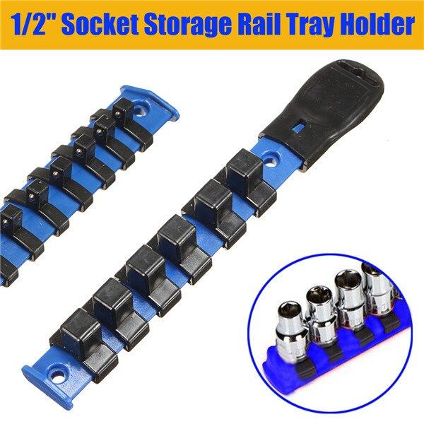 1/2'' Socket Rack Storage Divider Rail Tray Holder Wall Wrench Shelf Organizer 6 Clips 22.2cm*3.2cm