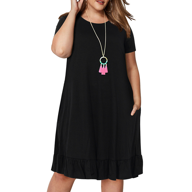 Spring Big size 9XL dress for Fat MM Woman dress Loose solid ruffles plus size women clothing 9xl dress  2