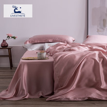 Liv-Esthete Top Grade 100% Silk Pink Bedding Set Mulberry 25 Momme Women Bed Sheet Quilt Cover Set Pillowcase Queen King Bed Set