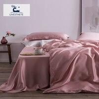 Liv Esthete Top Grade 100% Silk Pink Bedding Set Mulberry 25 Momme Women Bed Sheet Quilt Cover Set Pillowcase Queen King Bed Set