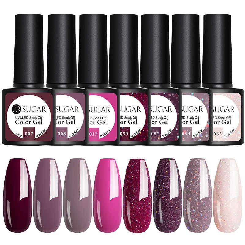Ur Suiker 4/6 Stuks Gel Polish Set Uv Vernish Semi Permanente Top Coat 7.5 Ml Losweken Vernis nail Art Manicure Gel Lak Nagels
