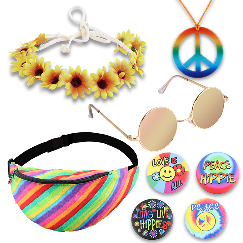 80s Hippie Costume Accessories Set Peace Sign Necklace Flower Crown Headband Rainbow Bag Hippie Style Cosplay For 60s 70s Party
