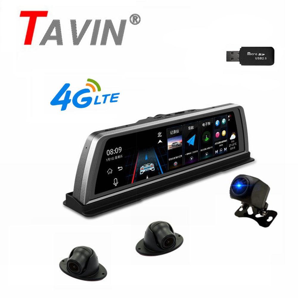 TAVIN voiture Dvr 4 objectif caméras 4G ADAS voiture dvr Android GPS tableau de bord caméra wifi 10 pouces HD écran tactile 360 degrés enregistreur de vision nocturne