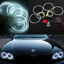 for BMW E36 E38 E39 E46 projector Ultra bright SMD white LED angel eyes 2600LM 12V halo ring kit daytime light 131mmx4 цена и фото