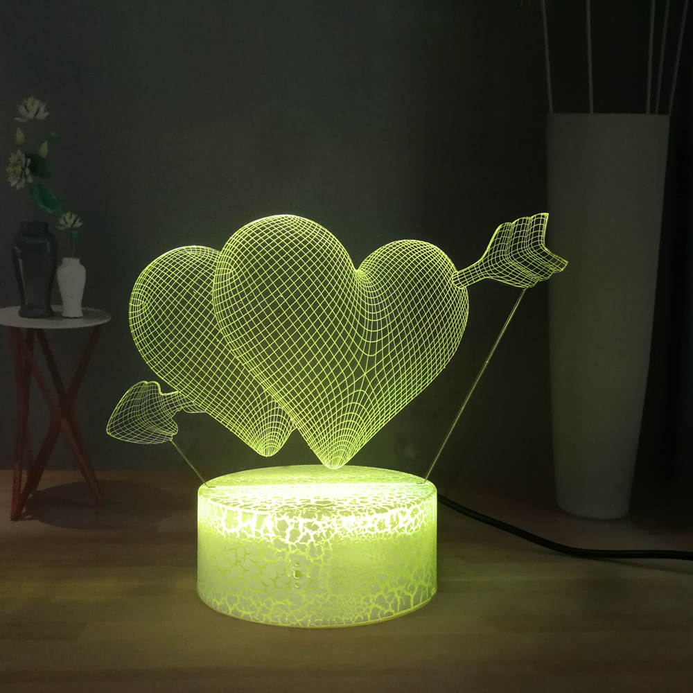 Lover's Best Gift The Arrow Of Love 3D Visual Desk Lamp Cupid's Arrow In The Heart RGB Multicolor LED Night Light Couple Gift