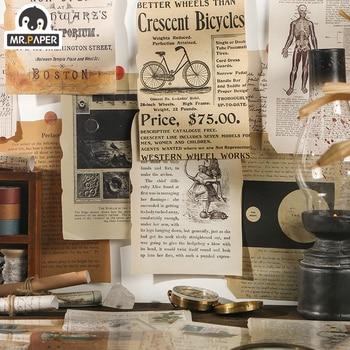 Mr.paper 25pcs Medieval VIntage Stickers Poster Scrap Handmade Dry Craft DIY Journal Travel Recording Envelopes Backgrou