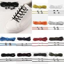 New 1 Pair Unisex Lazy Elastic No Tie locking Round Shoe Laces Children Adult Quick Candy Color 100cm Metal Head Shoelaces
