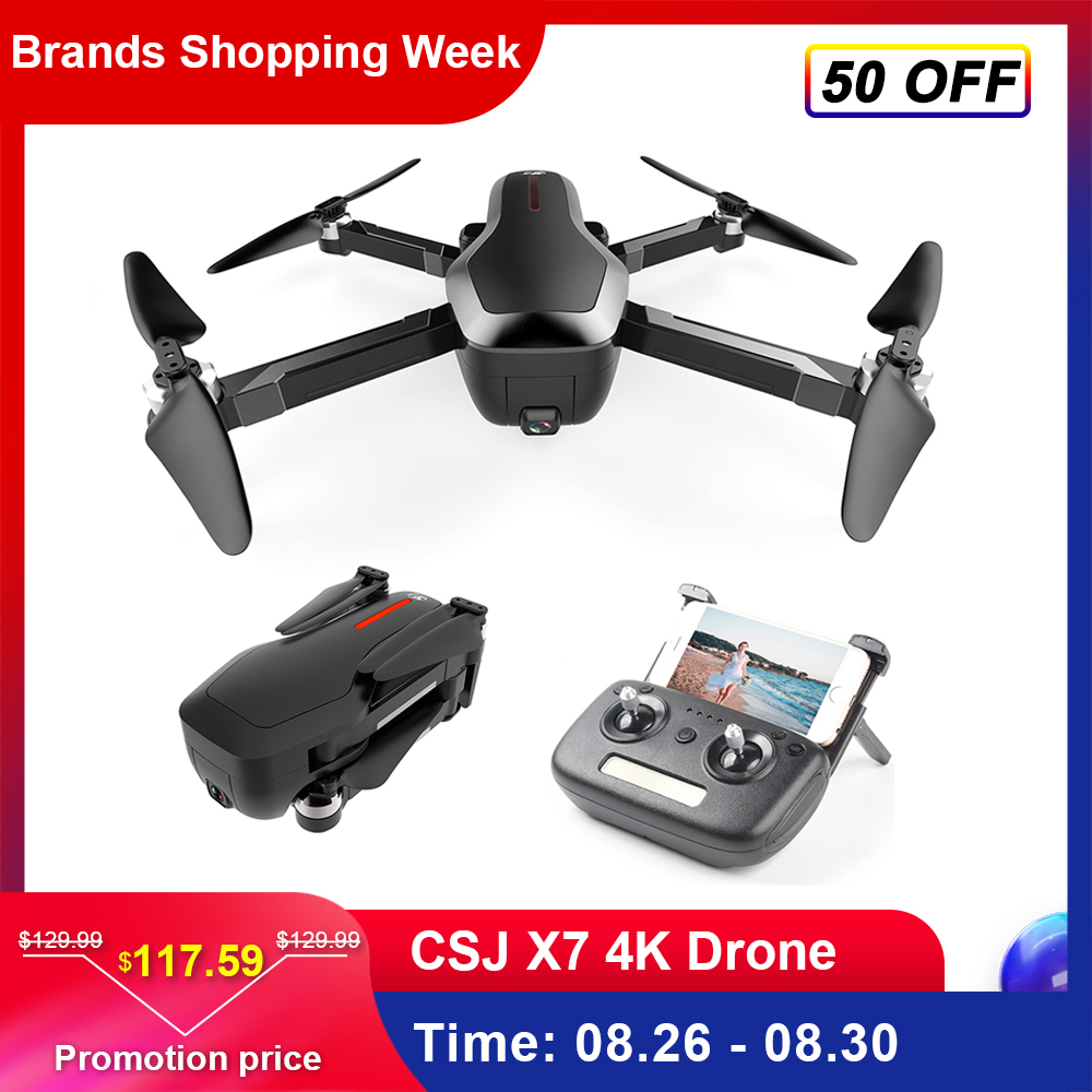 CSJ X7 Mini Drone With 4K Camera 5G Wifi GPS FPV Quadcopter Foldable Professional Drone RC Helicopter With Box VS Beast SG906