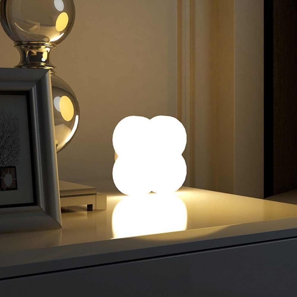 PIR Sensor Gerak Malam Lampu Isi Ulang Lampu Smart Samping Tempat Tidur Lampu Universal Clover Lampu LED Tahan Lama Rumah Lampu
