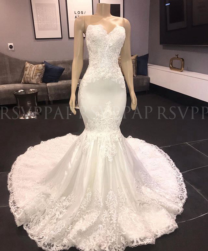 Luxury Mermaid Style Sweetheart Vintage Lace African Boho White Wedding Dress 2020 Bridal Wedding Gowns
