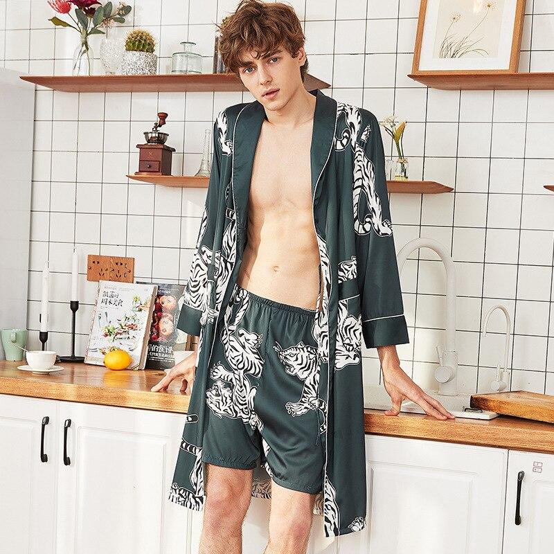 2020  Men's Bathrobe  Silk Kimono Long Sleeves Robe  Print Pajamas Men Gown Bathrobe With  Shorts Men Homewear Stylish