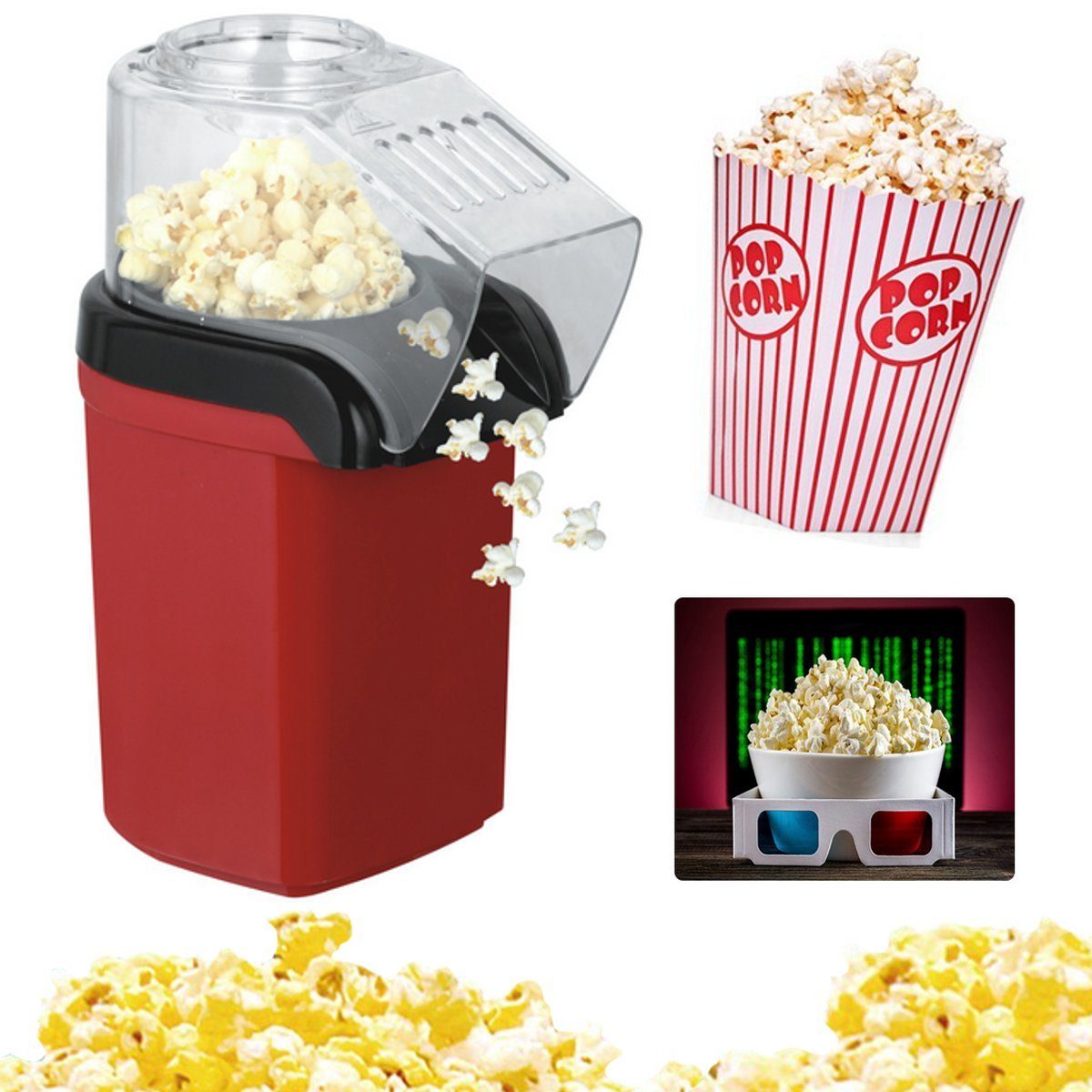 Electric Corn Popcorn Maker Diy Household Automatic Mini Hot Air Popcorn Making Kitchen Machine Diy Corn Popper 110v 220v