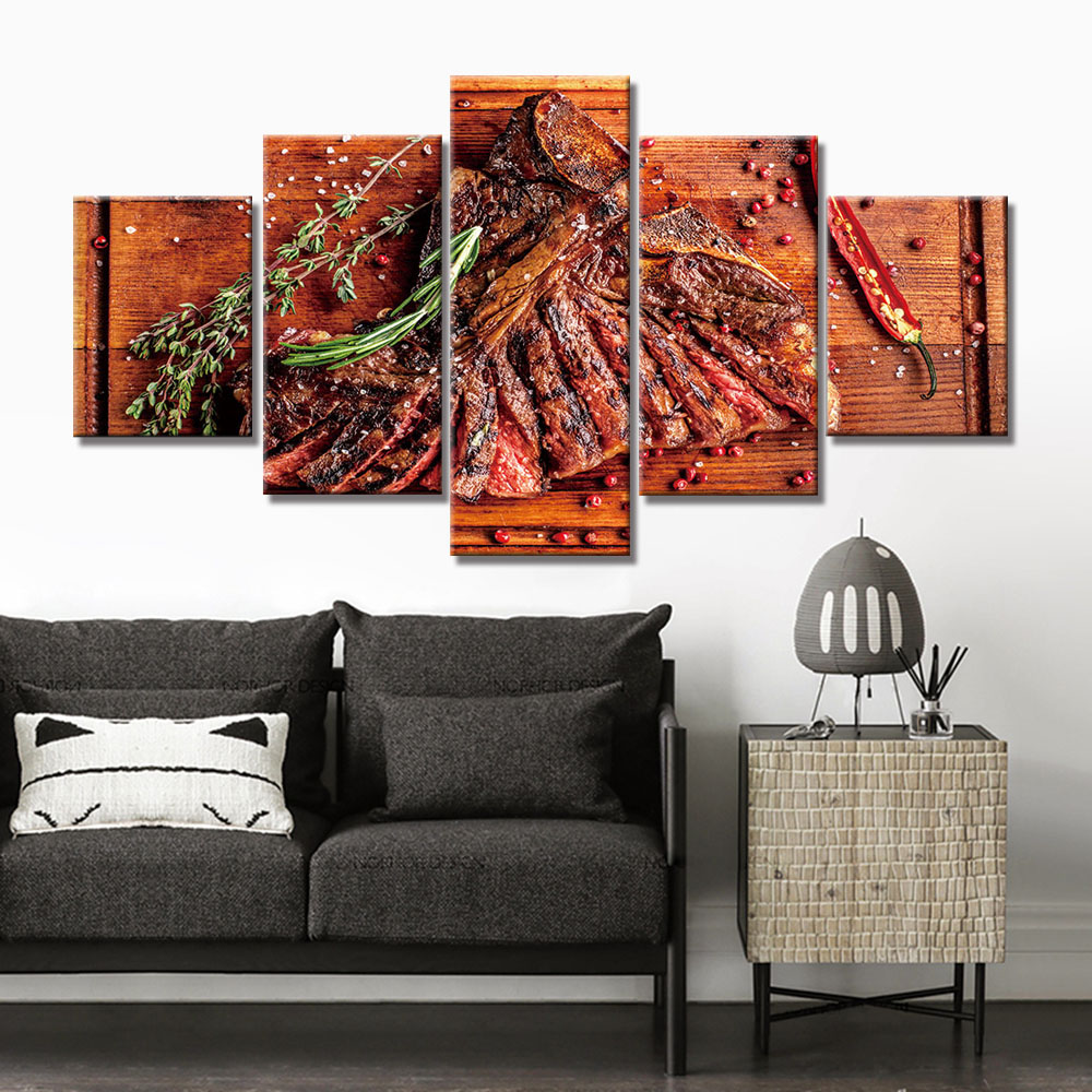 Modern Photo Steak Food Picture Canvas Painting Wall Art Kitchen Decor Home HD Prints Poster