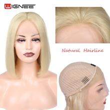 Wignee Lace Front 613 Wig Short Bob Human Wig High Density Malaysian Straight Hair Blond Wig Affordable Human Hair Wig For Women недорого