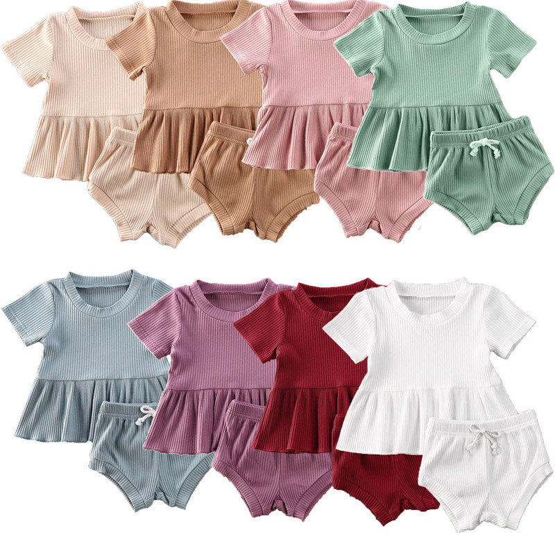 2Pcs Summer Newborn Baby Girls Boys Clothes Cotton Casual Short Sleeve Ribbed Knitted Tops T-shirt+Shorts Toddler Infant Outfits