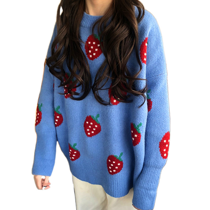 2019 Autumn New Korean Women Sweet Strawberry Knitting Jacquard Weave Loose Pullover Round Neck Pullover Long Sleeve Sweater