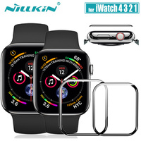 Iwatch 시리즈 4 3 2 1 유리 nillkin 3d aw + hd 풀 커버 강화 유리 스크린 프로텍터 apple watch 38mm 40mm 42mm 44mm