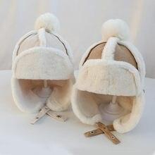 Boné de algodão de pelúcia quente ao ar livre lei feng gorro presentes chapéu 46-51cm bebê meninos meninas chapéu crianças orelha aleta muff inverno