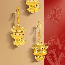 Koningin Elisa 2021 Zodiac Oorbellen Nieuwe Jaar Bull Dangle Earring Voor Vrouwen Sieraden Gold Leuke Charm Drop Earring Chinese Mode