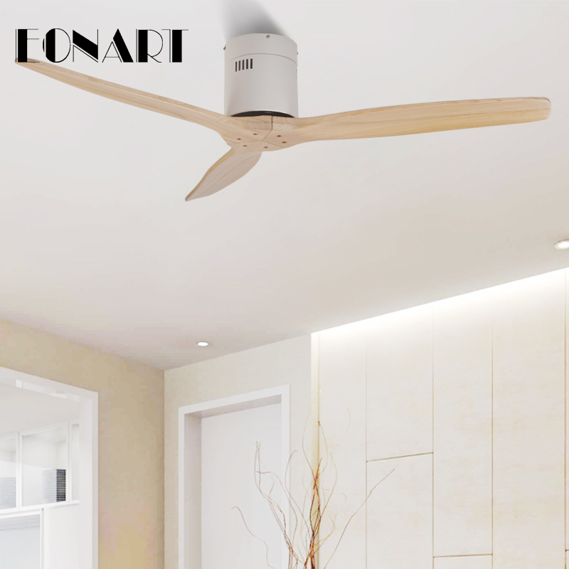 Faithful 52 Inch Ceiling Fan Without Lamp With Remote Control Modern Indoor Solid Wood Roof Decorate Fans For Home 110-240vac Motor Fan High Quality Materials