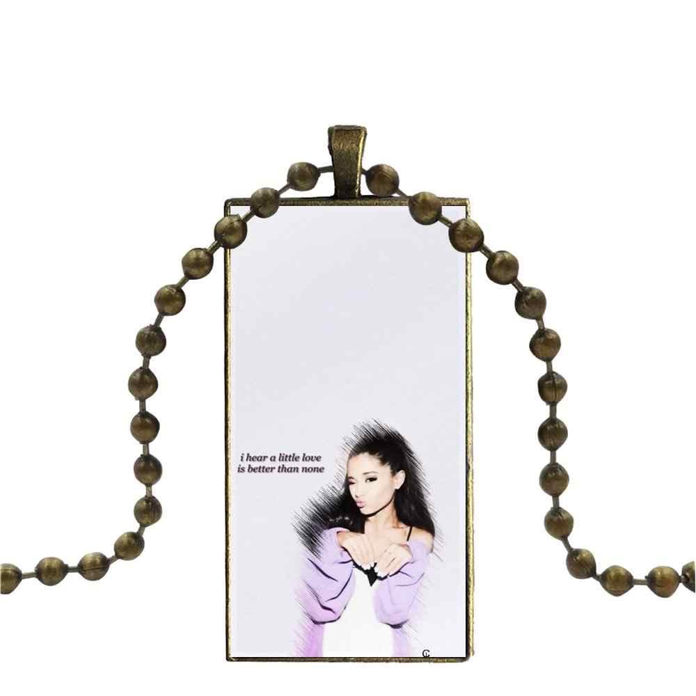 Untuk Wanita High Quality Girls Lockscreen Ariana Grande Fashion Kaca Cabochon Liontin Persegi Panjang Kalung Kalung Kalung Perhiasan