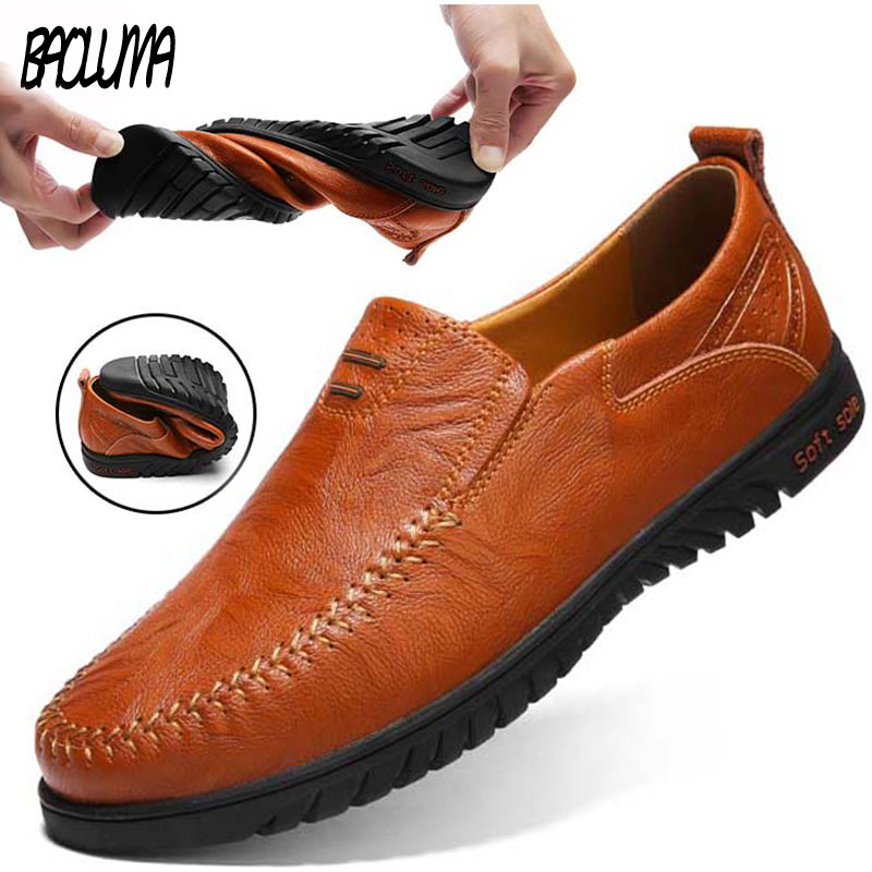 Hot ! Genuine Leather Men's Casual Shoes Men Loafers Flat Breathable Moccasins Italian Designer Style Shoes Comfortable Sneakers