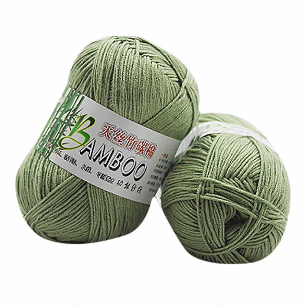 100% Bamboo Cotton Warm Soft Natural Knitting Crochet Knitwear Wool Yarn 50g Sweater Scarf Thread Crochet Para Tejer Line#T2