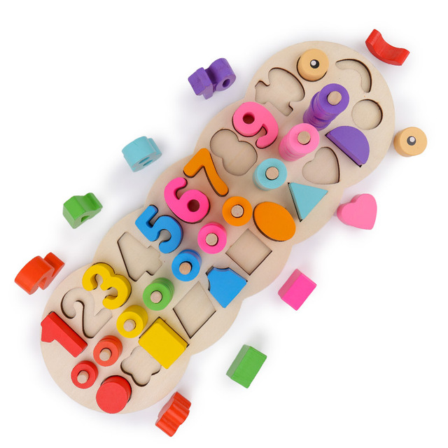 Kids 3D Wooden Puzzle Geometric Shape Matching Board Montessori Learning Toys for Children Color Digital Baby Educational Toy