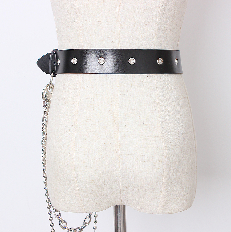 New Women Pu Leather Harness Body Belts With Metal Chain Waist Belt Punk Unisex Waist Chain Leisure Jeans Chain Designer Belts in Men 39 s Belts from Apparel Accessories