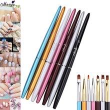Monja, 7 видов стилей, для дизайна ногтей, французская металлическая ручка, Полоска, линии, лайнер, изображение, кисть для рисования, акриловая, УФ-гель, расширение, строитель, ручка для рисования