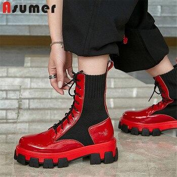 Asumer, novedad de 2020, botines de moda para mujer, zapatos de plataforma de tacón cuadrado, zapatos casuales populares de piel auténtica con cordones, zapatos para mujer de estilo punk