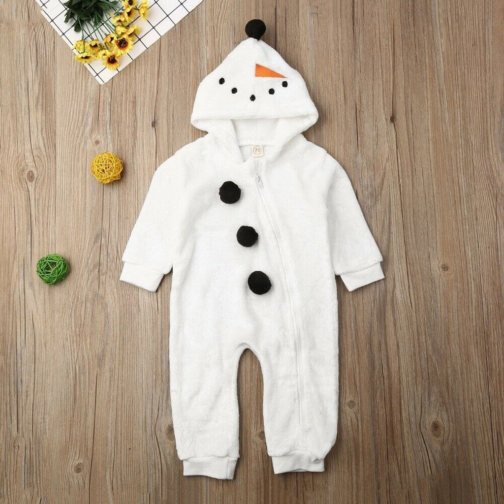 Toddler Baby Boy Girl Christmas Snowman Cosplay Costume Romper Jumpsuit Clothes Newborn Hooded Long Sleeve Cartoon Winter Outfit
