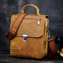 Fonmor Male Crazy horse Real Leather Shoulder Messenger Bag For Men Oil Wax Genuine Leather Handbags Man Fashion Crossbody Bags man canvas with crazy horse luxury cowboy oil skin leather bags briefcases and male bag retro single shoulder bag messenger bag