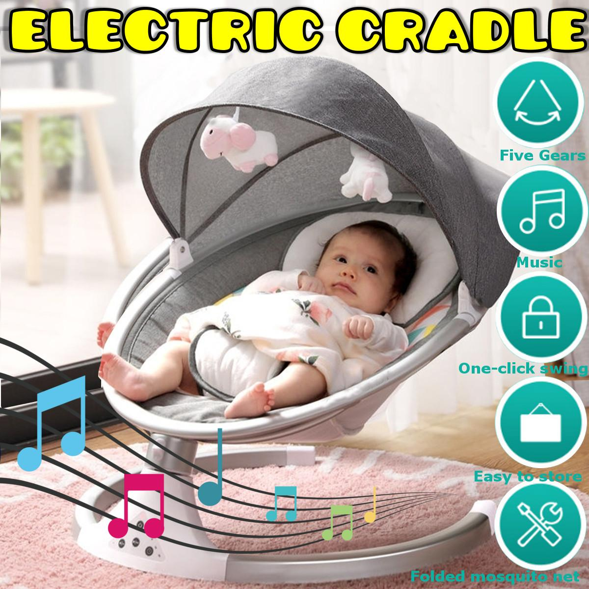 635*635*150mm Newborn Baby Sleeping Swing Bouncer Rocking Soothing Electric Cradle Rocker Chair With Seat Cushion