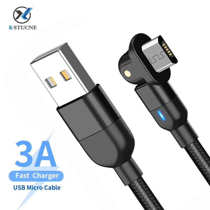 3A Fast Charging Wire 180 Degree Micro USB Cable For Samsung Xiaomi Huawei USB Charging Cable For Android Mobile Phone Data Sync