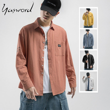 Yasword Brand Casual Shirts Men 2019 New autumn Spring Long Sleeve Shirt Male Fashion Cotton Solid Color 5 Colors Free Shipping цена
