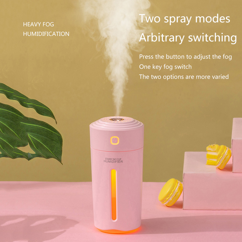 280ML USB Ultrasonic Air Humidifier For Home Mini Aroma Essential Oil Diffuser Built-in Battery Rechargeable Mist Maker Fogger