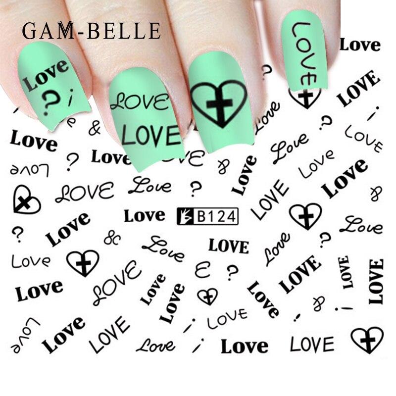 GAM-BELLE 1 Sheet Flower Series / Letter Series 3D Sticker Nail Art Stickers Decals DIY Beauty Creative Nail Decorations