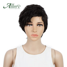 Natural Pixie Cut Human Hair Wig Allure Remy Brazilian Hair Short Wig For Summer Cheap Full Machine Wig(China)