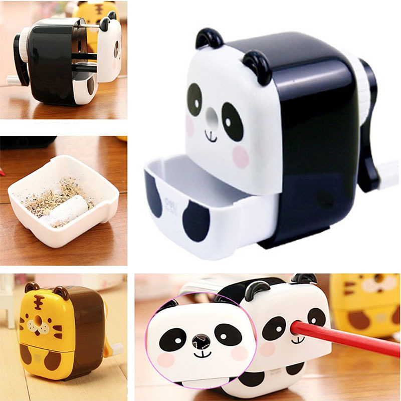 Animal Cartoon Panda Tiger Hand Crank Pencil Sharpener Desk Manual Pencil Sharpener Office School Supplies Stationary Kids Gifts