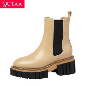 QUTAA 2021, zapatos de tacón alto con plataforma de Botines de Cuero de vaca, zapatos de mujer con punta redonda, botas cortas para otoño e invierno, talla 34-39