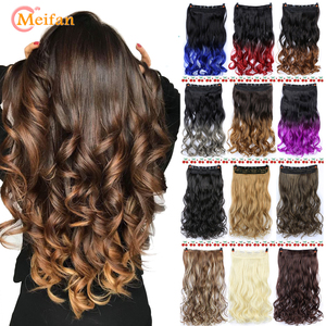 MEIFAN Waist 60cm Long Wavy Curly 5 Clip in Hair Extensions Natural Thick Straight Synthetic Hair Pieces Extention