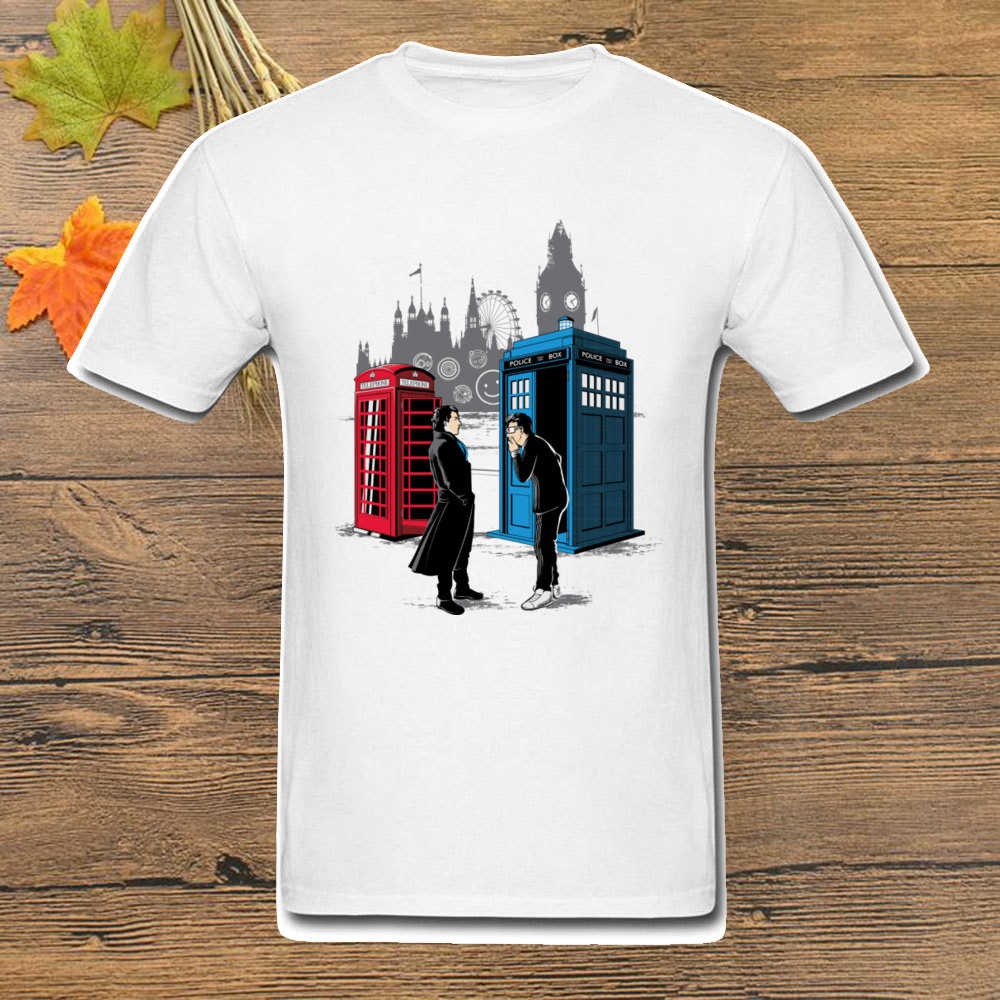 Cabins Collide T-Shirt Men Doctor Who Tardis Sherlock Telephone Box T Shirt Tv Tees Plus Size Adult Print Clothes Funny