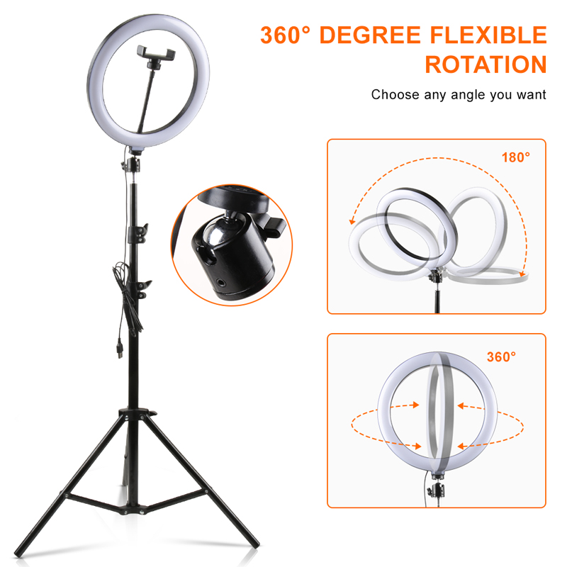"""H646e3bc92a244c00a1a9e6b07ea25d76R PYNSSEU 26cm LED Ring Light with 1.1/1.6/2.0M Light Ring Stand Dimmable 10"""" Selfie Ring Lamp with Phone Clip for Youtube Makeup"""